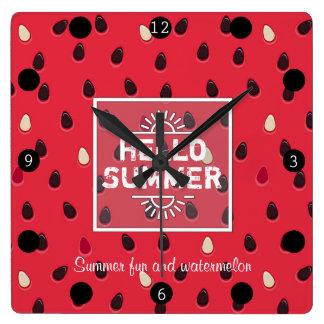 Relógio Quadrado Teste padrão da melancia, horas de verão  
