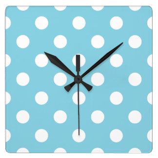 Relógio Quadrado Teste padrão de bolinhas azul e branco