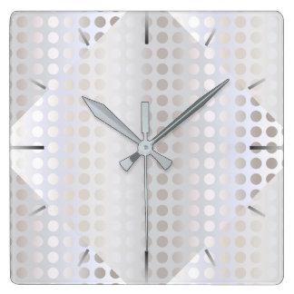 Relógio Quadrado Teste padrão de bolinhas de prata do falso à moda