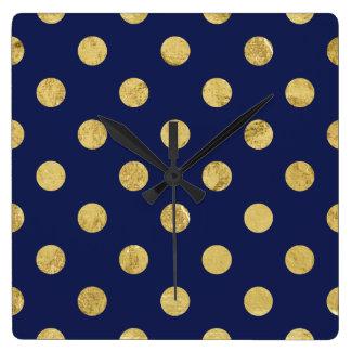 Relógio Quadrado Teste padrão de bolinhas elegante da folha de ouro