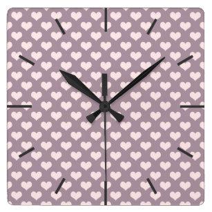 9a4e7dcd10a Relógio Quadrado teste padrão de bolinhas roxo dos corações do amor