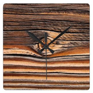 Relógio Quadrado Teste padrão de madeira LEGAL da grão