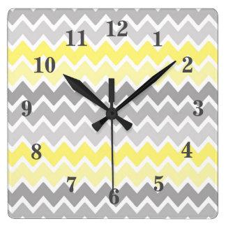Relógio Quadrado Teste padrão de ziguezague cinzento cinzento