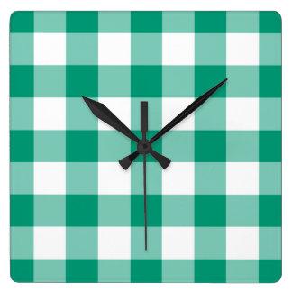 Relógio Quadrado Teste padrão do guingão das verificações do verde