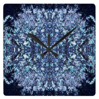 Relógio Quadrado Teste padrão dos azuis marinhos