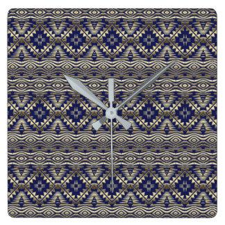 Relógio Quadrado teste padrão dourado boémio étnico
