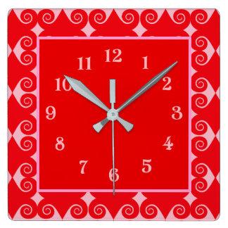 Relógio Quadrado Teste padrão encaracolado do diamante