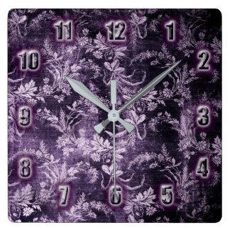 Relógio Quadrado Teste padrão floral do vintage do Grunge no roxo