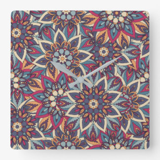 Relógio Quadrado Teste padrão floral étnico abstrato colorido da