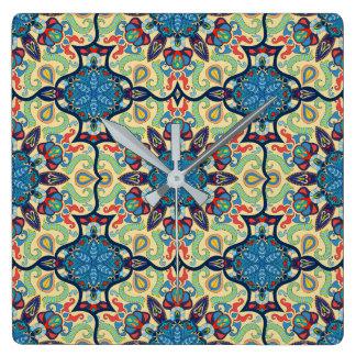 Relógio Quadrado Teste padrão floral étnico abstrato colorido de da