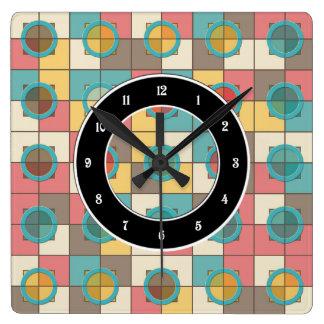 Relógio Quadrado Teste padrão geométrico colorido