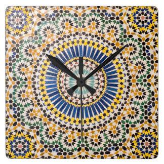 Relógio Quadrado Teste padrão geométrico do azulejo, Marrocos
