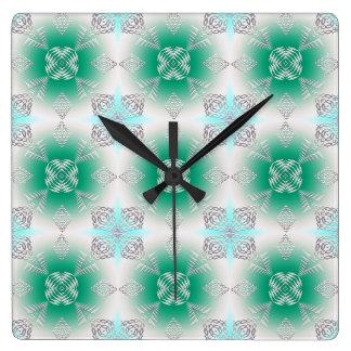 Relógio Quadrado teste padrão geométrico étnico abstrato da cerceta