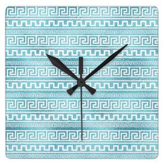 Relógio Quadrado Teste padrão grego azul delicado do meandro no