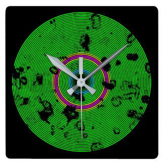 Relógio Quadrado Teste padrão multicolorido verde da textura do