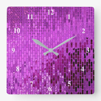 Relógio Quadrado Teste padrão roxo do Shimmer do bloco