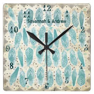 Relógio Quadrado Teste padrão rústico velho personalizado da pena
