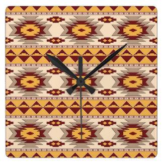 Relógio Quadrado Teste padrão tribal do navajo do sudoeste