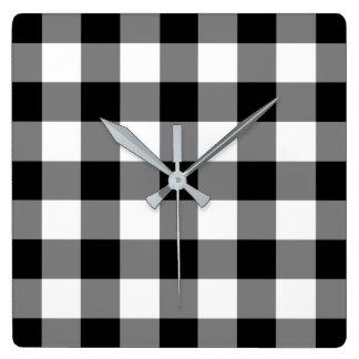 Relógio Quadrado Teste padrão verificado preto e branco do guingão