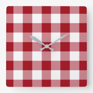 Relógio Quadrado Teste padrão vermelho e branco verificado do
