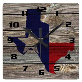 Relógio Quadrado Texas rústico na vista autêntica de madeira