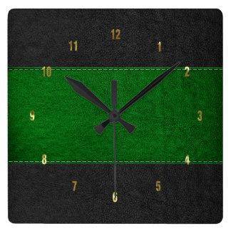 Relógio Quadrado Textura de couro costurada verde & preta masculino