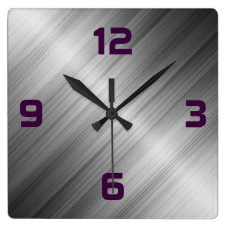 Relógio Quadrado Textura escovada do metal