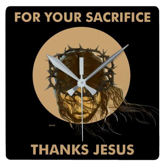 RELÓGIO QUADRADO THANKS JESUS CLOCK