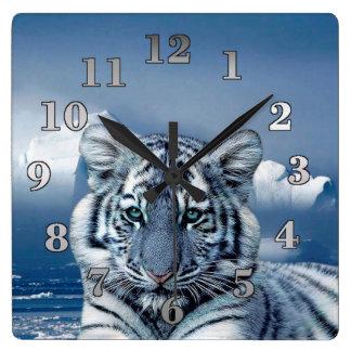Relógio Quadrado Tigre branco azul