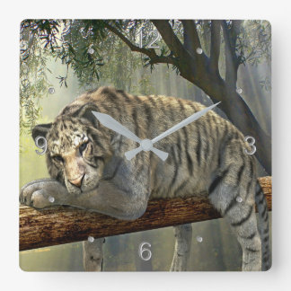 Relógio Quadrado Tigre de Bengal branco