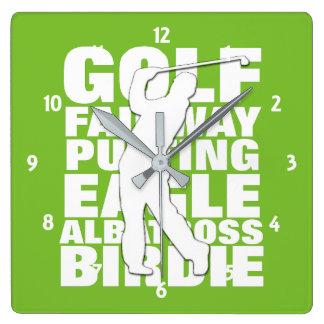 Relógio Quadrado Tipografia da terminologia do golfe dos jogadores