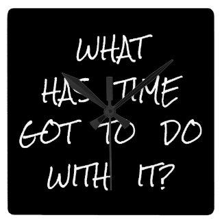 Relógio Quadrado Tipografia inspirada do branco do preto das