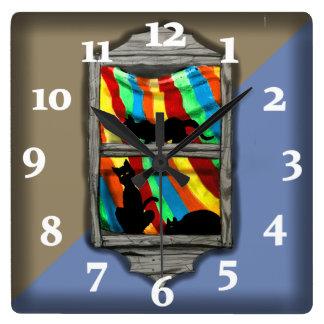 Relógio Quadrado TOM dos GATOS 2 da JANELA por Slipperywindow