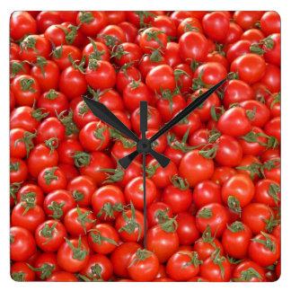 Relógio Quadrado Tomates vermelhos da videira