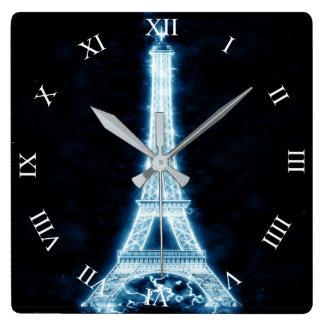 Relógio Quadrado Torre Eiffel no pulso de disparo de parede de néon