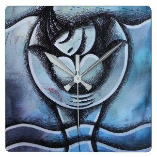 Relógio Quadrado Tortas mojados, fondo Azul do sobre do chica
