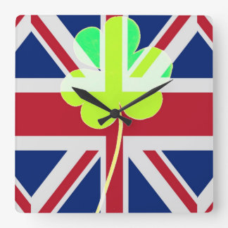 Relógio Quadrado Trevo britânico irlandês St Patrick Reino Unido do