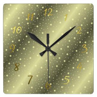 Relógio Quadrado trevos em relógios de ouro