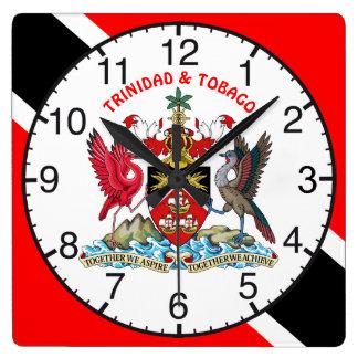 Relógio Quadrado Trinidad and Tobago embandeiram e brasão