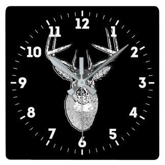 Relógio Quadrado Troféu do fanfarrão em cervos pretos da cauda