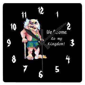 Relógio Quadrado Troll de acolhimento de vista engraçado