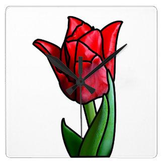 Relógio Quadrado Tulipa vermelha exótica do vitral