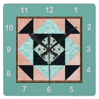 Relógio Quadrado Turquesa & pêssego do bloco da edredão do remendo
