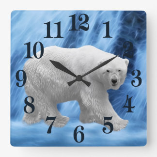 Relógio Quadrado Um urso polar na cachoeira congelada