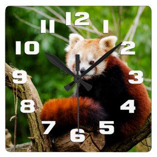 Relógio Quadrado Urso de panda vermelha bonito
