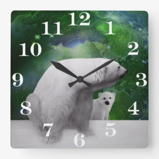 Relógio Quadrado Urso polar, filhote e Aurora da aurora boreal