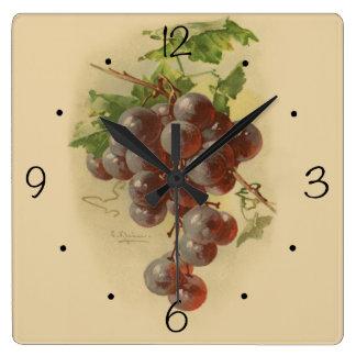Relógio Quadrado Uvas do vintage