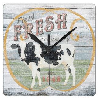 Relógio Quadrado Vaca fresca da indústria do leite do vintage