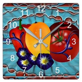 Relógio Quadrado Vegetais de frutas