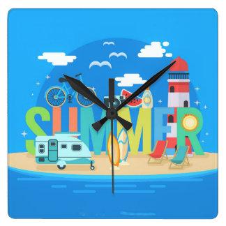 Relógio Quadrado Verão